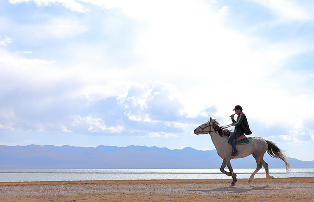 song-kul lake in kyrgyzstan